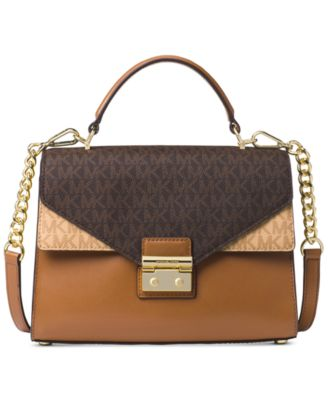 michael kors sloan signature top handle medium satchel handbags rh macys com