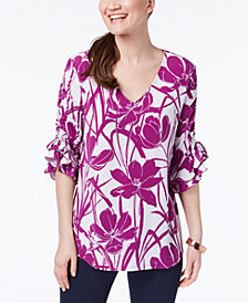 Alfani Petite Printed Ruched Tie-Sleeve Top, Created for Macy's