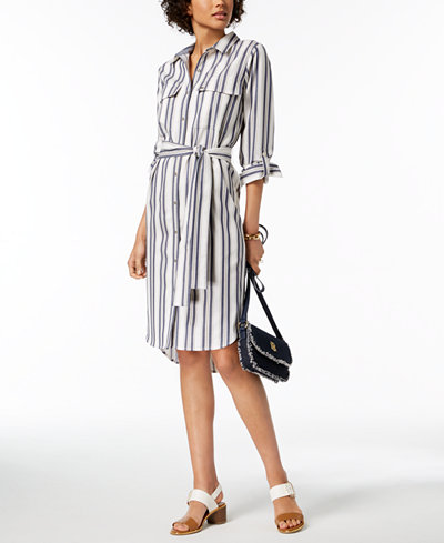 Tommy Hilfiger Striped High-Low Shirtdress, Created for Macy's