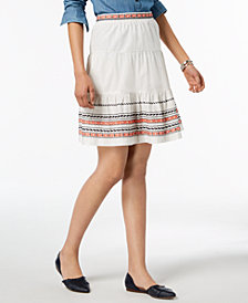 Tommy Hilfiger Cotton Embroidered Skirt, Created for Macy's
