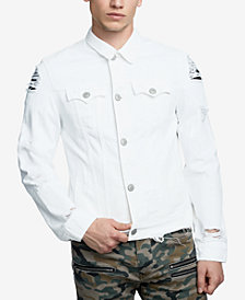 True Religion Men's White Destructed Jacket