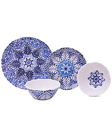 222 Fifth Rustic Medallion 12-Pc. Melamine Dinnerware Set