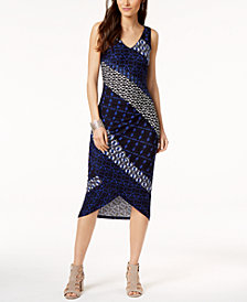 I.N.C. Printed Tulip-Hem Sheath Dress, Created for Macy's