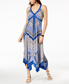 I.N.C. Petite Printed Handkerchief-Hem Maxi Dress, Created for Macy's