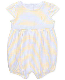 Ralph Lauren Striped Cotton Jersey Romper, Baby Girls