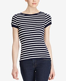 Button-Shoulder Striped Cotton Top