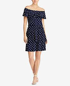 Lauren Ralph Lauren Polka-Dot Off-The-Shoulder Dress