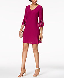 MSK Petite Embellished Bell-Sleeve Sheath Dress