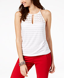 I.N.C. Illusion-Striped Keyhole Top, Created for Macy's
