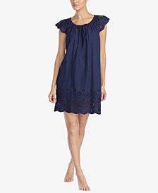 Lauren Ralph Lauren Seaside Wovens Sheer-Crochet Nightgown