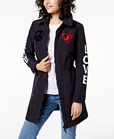 Love Moschino Appliqué Peace & Love Jacket
