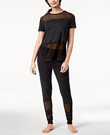 Ande Lush Luxe Mesh-Panel Pajama Top & Jogger Pants