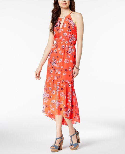 ab7cb3d8e2c5 Vince Camuto Floral-Print Chiffon High-Low Maxi Dress & Reviews ...