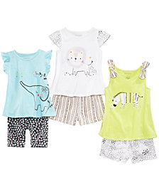 First Impressions Baby Girls Safari Graphic-Print T-shirts & Shorts Separates, Created for Macy's