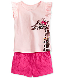 First Impressions Baby Girls Graphic-Print Top & Eyelet Shorts Separates, Created for Macy's