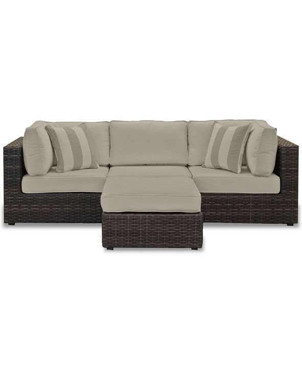 Furniture Viewport Outdoor 4-Pc. Modular Seating Set (2 Corner Units, 1 Armless Unit and 1 Ottoman), with Sunbrella® Cushions, Created for Macy's