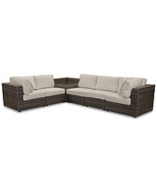 Viewport Outdoor 6-Pc. Modular Seating Set (2 Corner Units, 3 Armless Units and 1 Corner Table), with Custom Sunbrella® Cushions, Created for Macy's