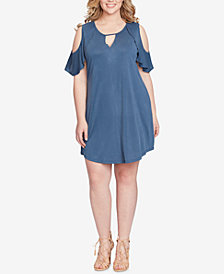 Jessica Simpson Trendy Plus Size Cold-Shoulder Shift Dress