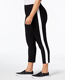 I.N.C. Plus Size Racing-Stripe Skinny Pants, Created for Macy's