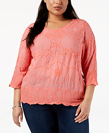 John Paul Richard Plus Size Embroidered Top
