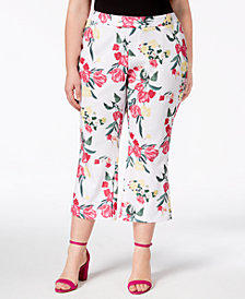 I.N.C. Plus Size Printed Cropped Pants, Created for Macy's