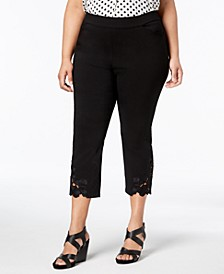 INC Plus Size Lace-Hem Cropped Pants, Created for Macy's