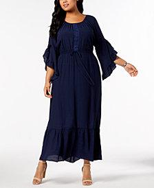 NY Collection Plus & Petite Plus Size Crochet-Trim Peasant Maxi Dress