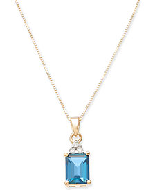 "Blue Topaz (2 ct. t.w.) & Diamond Accent 18"" Pendant Necklace in 14k Gold"