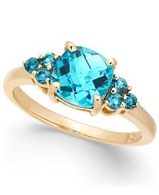 Blue Topaz Statement Ring (2-1/10 ct. t.w.) in 14k Gold