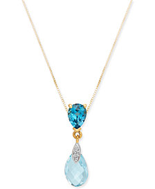 "Blue Topaz (3-1/4 ct. t.w.) & Diamond Accent 18"" Pendant Necklace in 14k Gold"
