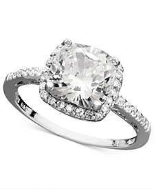 Giani Bernini Sterling Silver Ring, Cubic Zirconia Cushion Cut Pave Ring (3-3/4 ct. t.w.), Created for Macy's