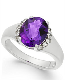 Amethyst (2-1/2 ct. t.w.) & Diamond (1/6 ct. t.w.) Ring in Sterling Silver