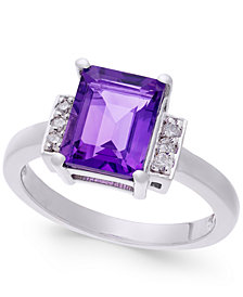 Amethyst (2-1/3 ct. t.w.) & Diamond (1/10 ct. t.w.) Ring in Sterling Silver