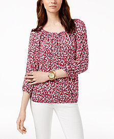 MICHAEL Michael Kors Printed 3/4-Sleeve Peasant Top in Regular & Petite Sizes