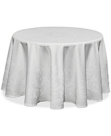 "Waterford Celeste White 90"" Round Tablecloth"