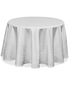 "Waterford Celeste White 70"" Round Tablecloth"