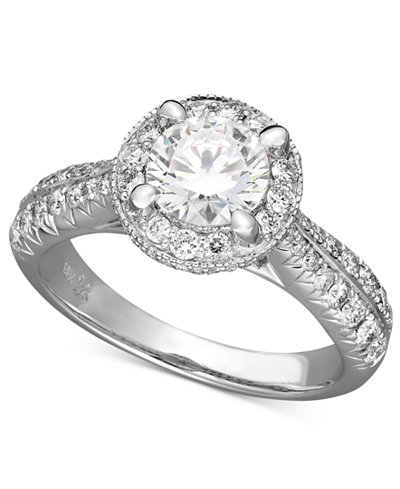 X3 Certified Diamond Engagement Ring in 18k White Gold (1-1/2 ct. t.w.), Created for Macy's