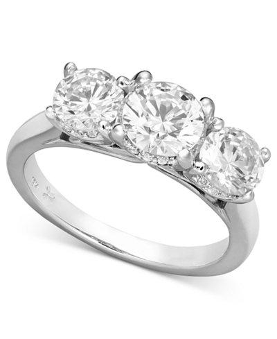 x3 certified three stone diamond ring in 18k white gold 2 ct tw - Macys Wedding Rings