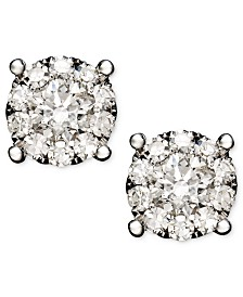 Diamond Circle Stud Earrings In 14k White Gold