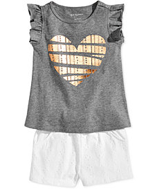 First Impressions Baby Girls Heart-Print Top & Shorts Separates, Created for Macy's