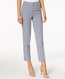 Nine West Gingham-Print Ankle Pants