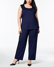 Kasper Plus Size U-Neck Shell & Trouser Pants