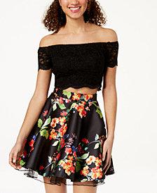 City Studios Juniors' Lace-Top Printed 2-Pc. Fit & Flare Dress