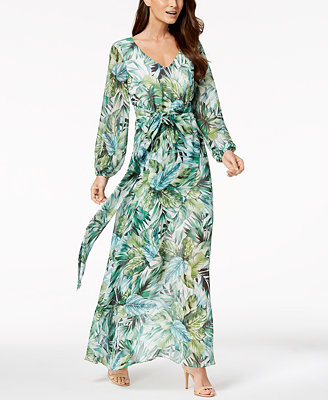 Printed Faux Wrap Maxi Dress, Created For Macy's by Nine West