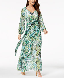 Nine West Printed Faux-Wrap Maxi Dress, Created for Macy's