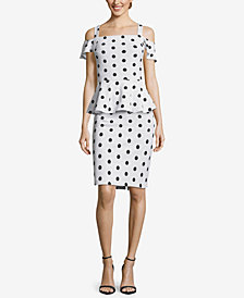 ECI Cold-Shoulder Polka-Dot Peplum Dress