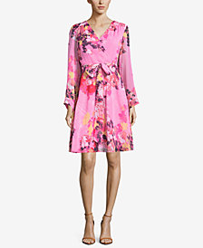 ECI Floral-Print Belted Dress
