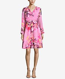 ECI Floral-Print Belted Dress