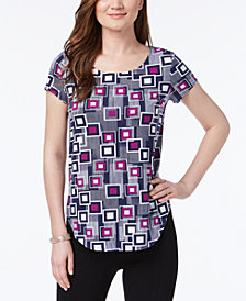 Alfani Petite Printed Shirttail-Hem Top, Created for Macy's