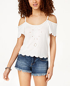 American Rag Juniors' Embroidered Cold-Shoulder Top, Created for Macy's